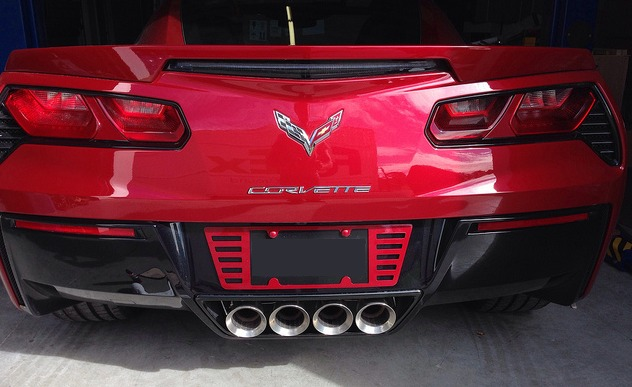 C7 Corvette Rear License Plate Frame + Caps