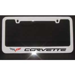 Corvette Chrome License Frame With C6 Logo & Word