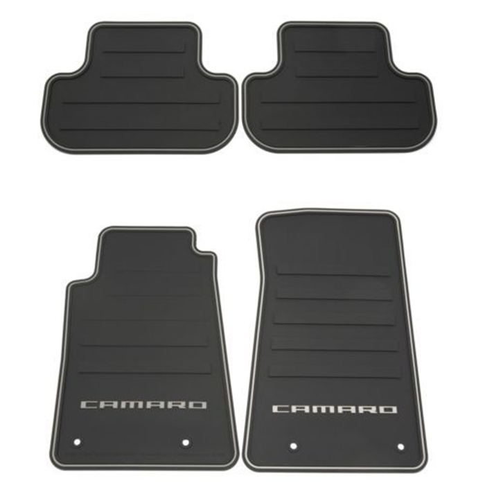 2010-2014 Camaro Premium All Weather - Rubber Floor Mats 4 Pc. Set (Silver Lettering)