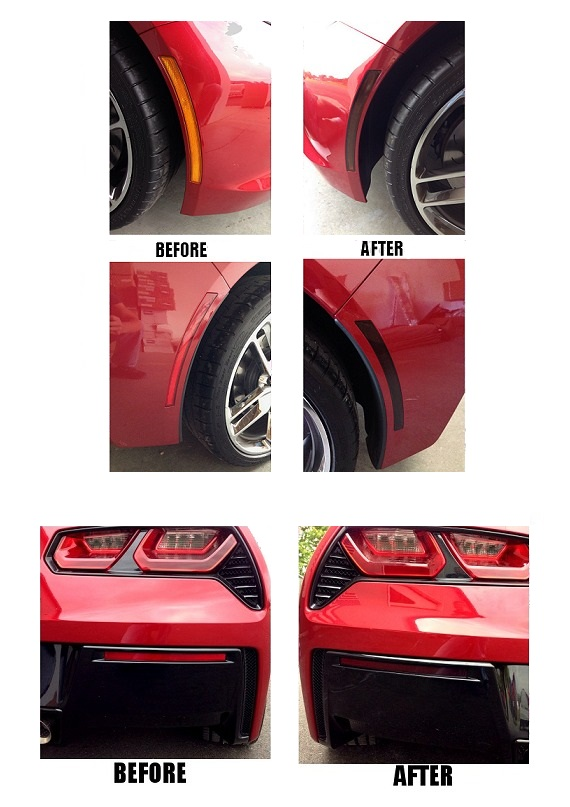 2014 C7 Corvette Stingray Side Vent Mesh Grille Overlay 6Pc Front Polished