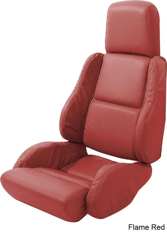 84-88 Corvette Leather Seat Covers On Foam for Sport Seats- Flame Red