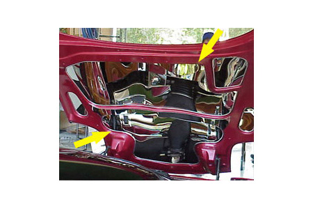 97-04 2pc Polished Stainless Upper/Lower Hood Panels