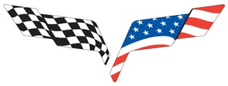 C6 USA Flag (Decal Pillow) Overlay For OEM Emblem